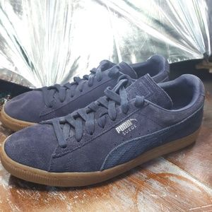 Puma Suede Blue Tie-up Sneakers Size 9.5
